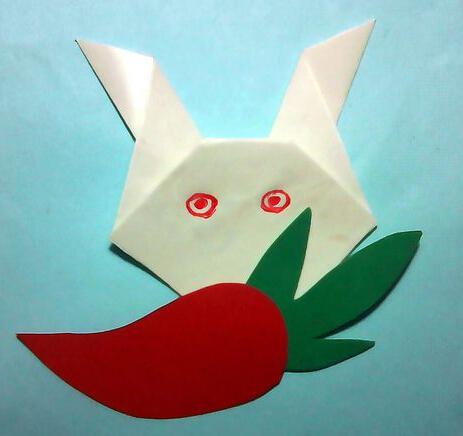 用卡纸做手工小白兔吃萝卜怎么做图片