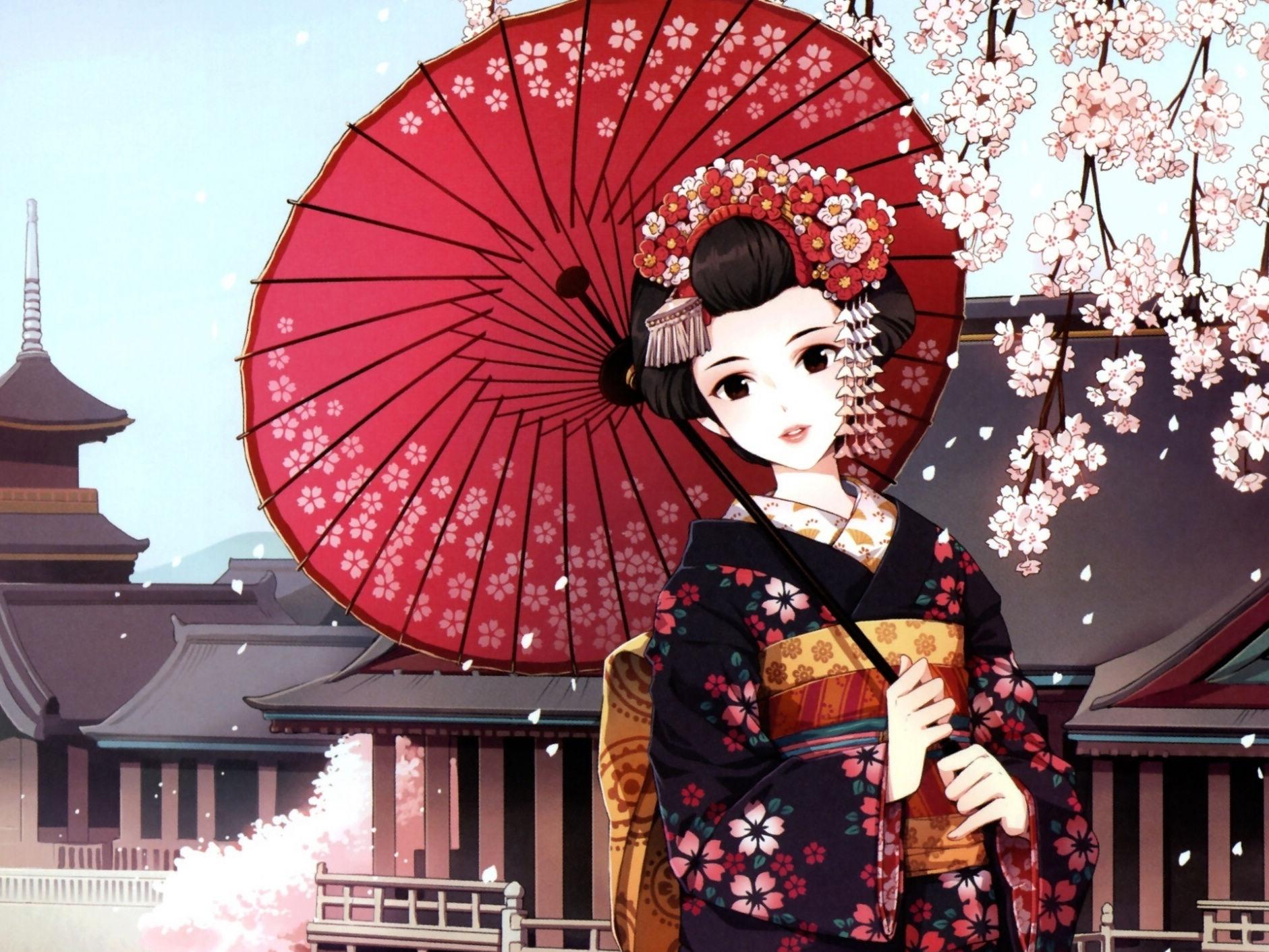 樱花和服漫画手绘