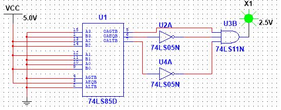 设计一个比较电路,当输入的8421bcd码大于5是输出为1否则为0