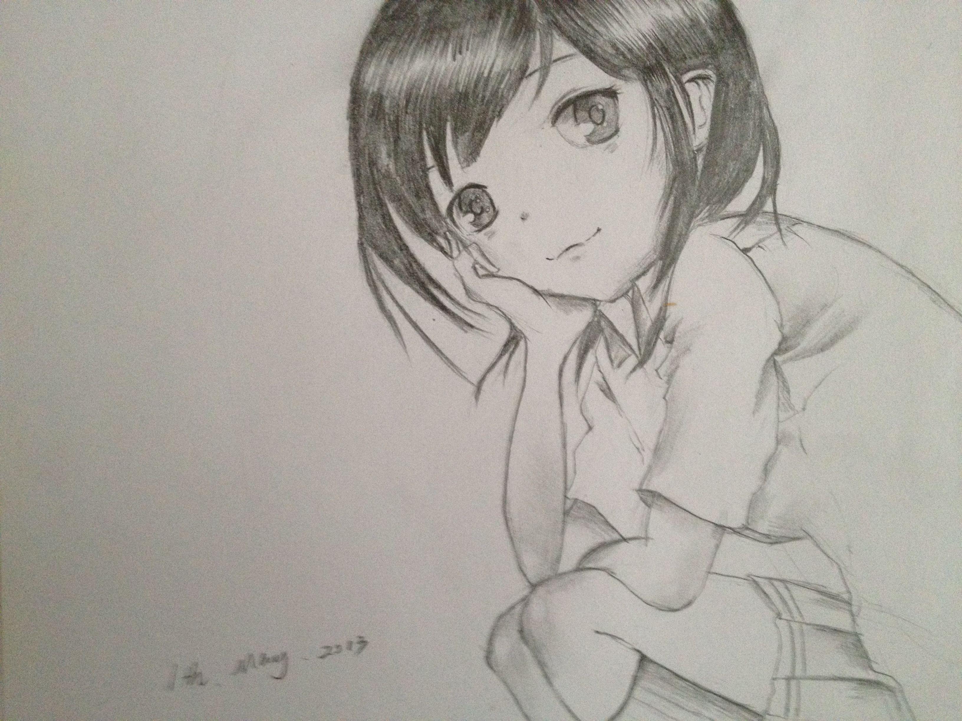 铅笔画怎么描线?画的是动漫.