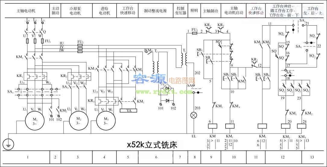 齐齐哈尔二机床厂x5032a立式升降台铣床电路图图片