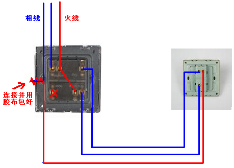 双开双控开关六根线接线图,一根火线,两根灯线,另三根