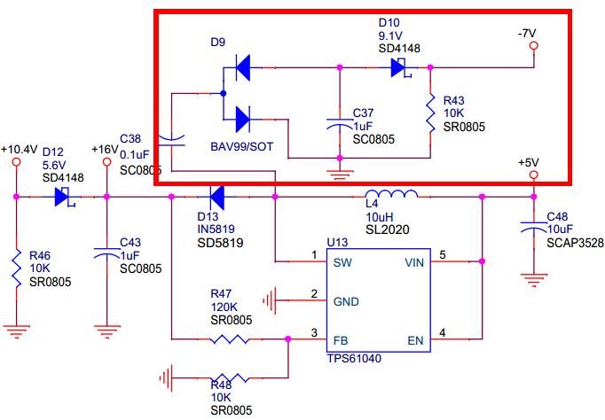 该电路中的bav99双二极管的作用是什么?-7v又是如何得到的?