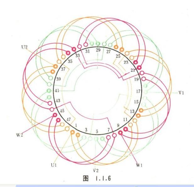 4极48槽单层一路5.5千瓦三相电动机三角接线图