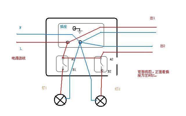 两开五孔插座如何接线,两开关分别控制两灯.
