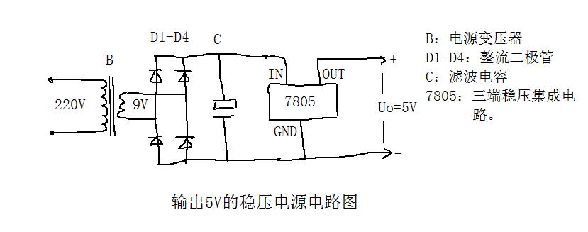 7805设计5v直流稳压电源变压器一次电压为220v,二次电压为9v