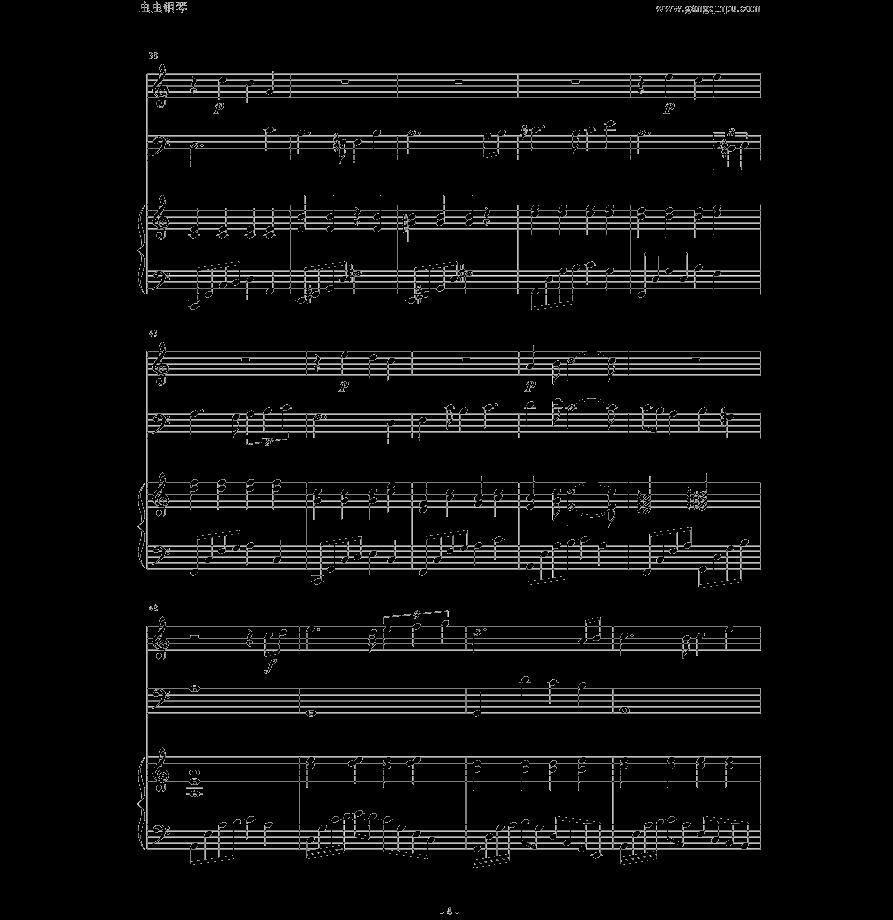 求天空之城小提琴钢琴合奏的谱子图片