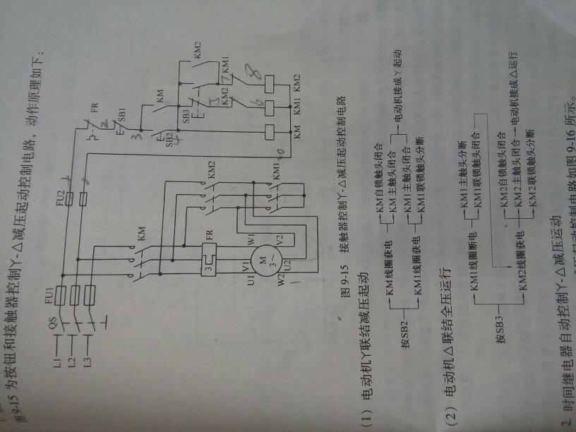 求接触器控制星三角减压起动控制电路接线图!三个接触