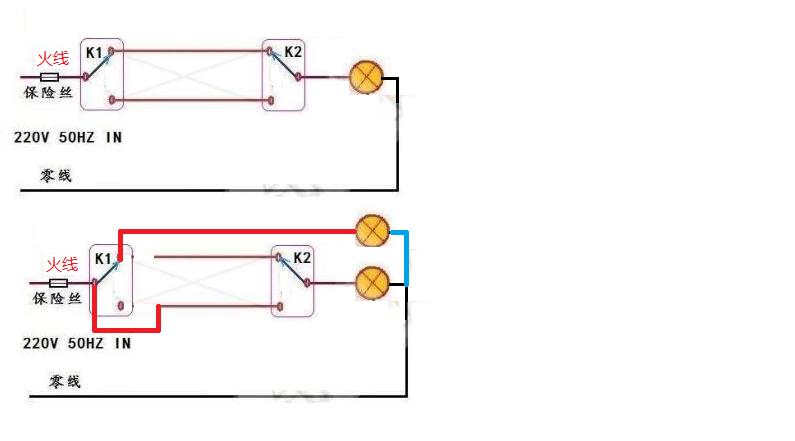 现有两个开关控制一盏灯,求把其改成两个开关分别控制