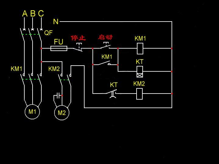 两个交流接触器接线图
