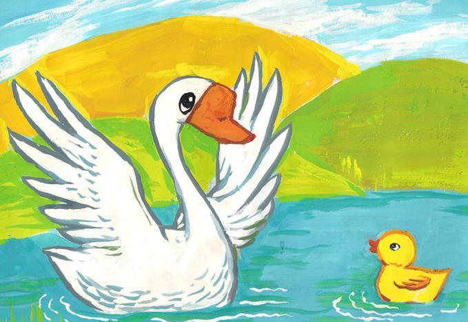 儿童怎么画白天鹅