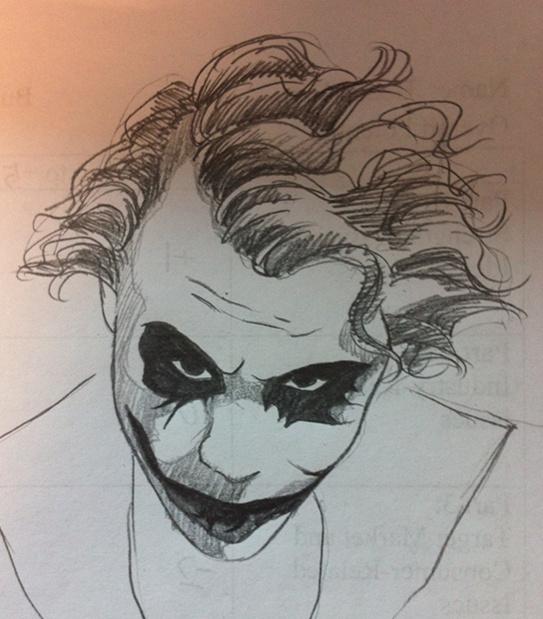 谁教我怎么用铅笔画黑暗骑士小丑?