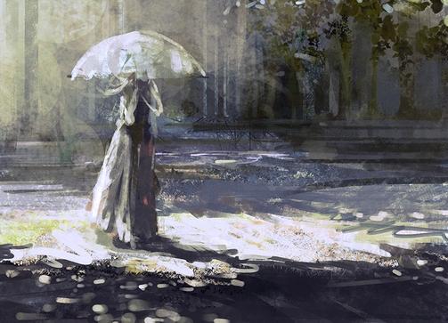 古代女子撑伞图