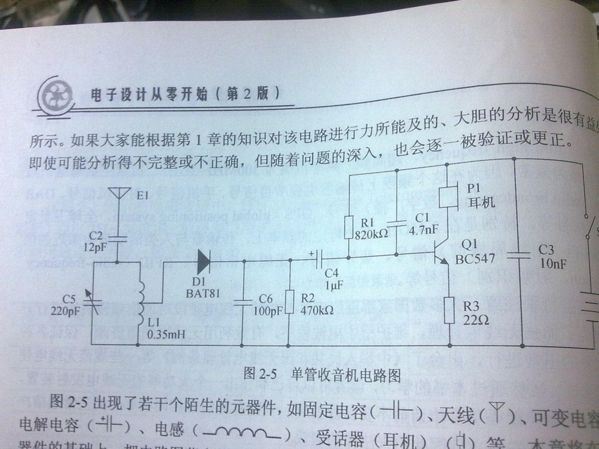 单管收音机电路图怎么分析每个元件的功能,还有就是那些元件大小是