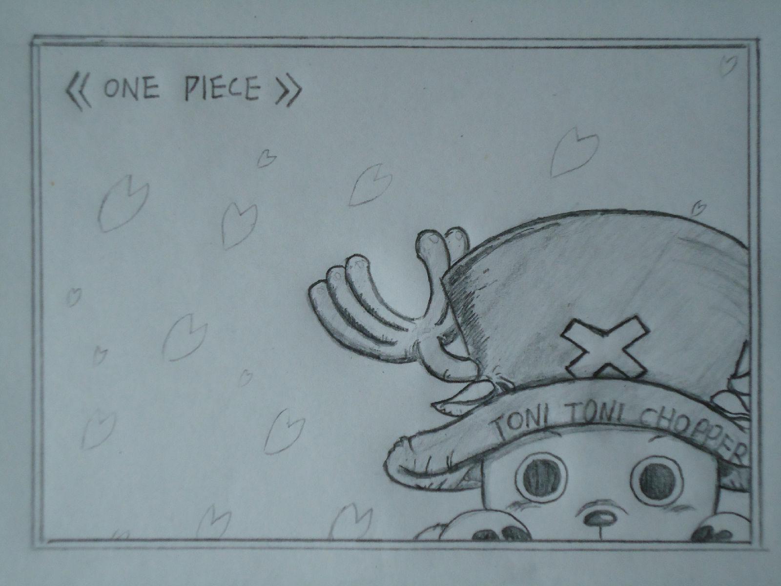 海贼王乔巴铅笔画黑白的