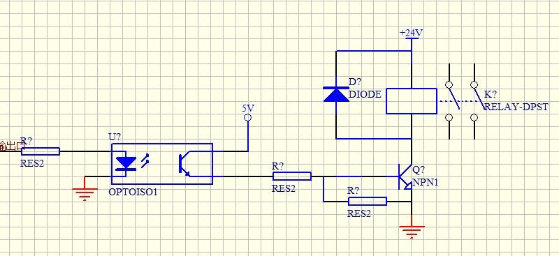 输出采用光耦,然后驱动继电器,这部分电路图跟你的图差不多吗?