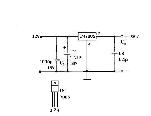 用7085设计个直流变压电路图,要求实现12v转5v.