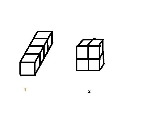 如图,当摆放方式为图1时,长方体的长宽高分别为4dm、1dm、1dm。S1=414+112=18(平方分米)当, 小方有四个棱长是1dm的正方体木块他用这四个木块摆成一个长方休请计算 这个表面积 -爱问知识网