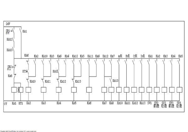 继电器与接近开关组合后,控制三组以上油缸动作电路图