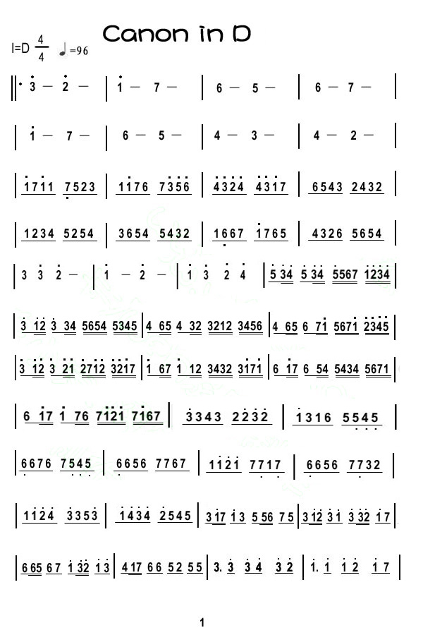 求卡农的小提琴简谱 带指法的那一种