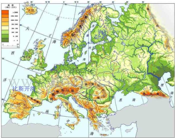 欧洲西部大陆轮廓破碎,海岸线十分曲折,多半岛,岛屿,海洋深入内地形成图片
