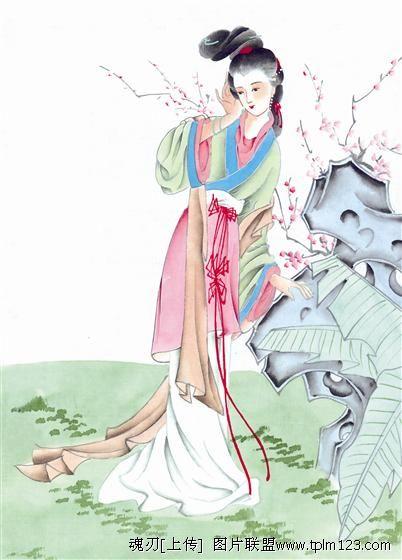 哪些网页有古装美女图片(国画),我要看水墨画的美女图