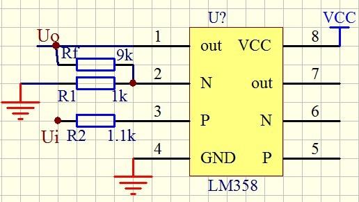 lm358p如何同相放大10倍,该怎么接电路,求高手指点.最