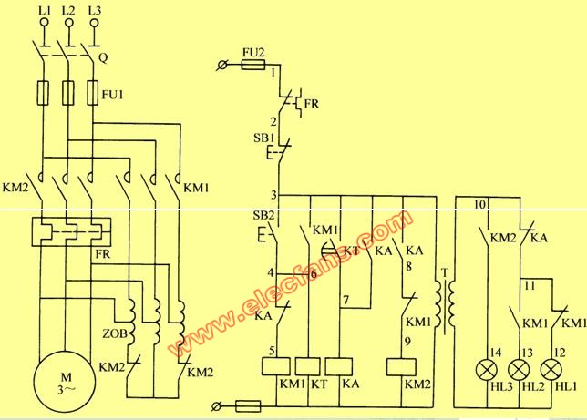 电动机降压启动电路图带指示灯