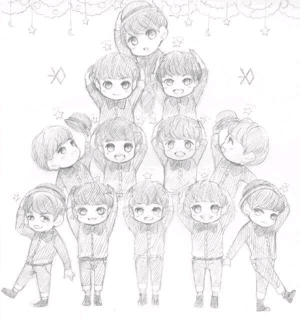 exo黑白手绘图片