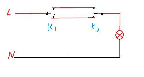 用2个开关同时控制一个灯的电路图怎么设计?(要保证用