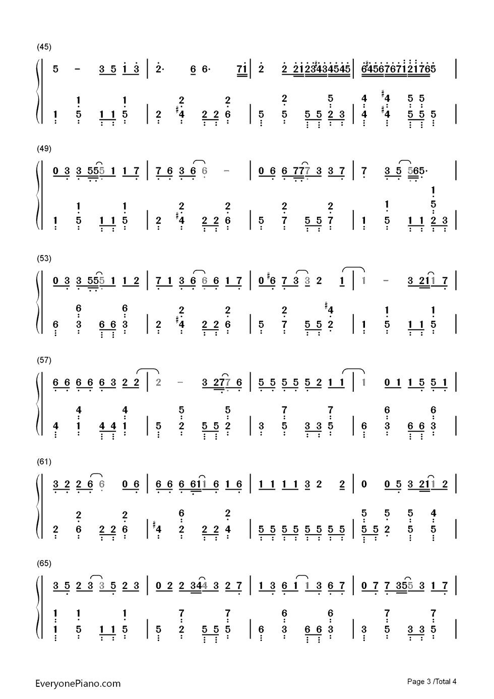 有小幸运钢琴简谱吗?