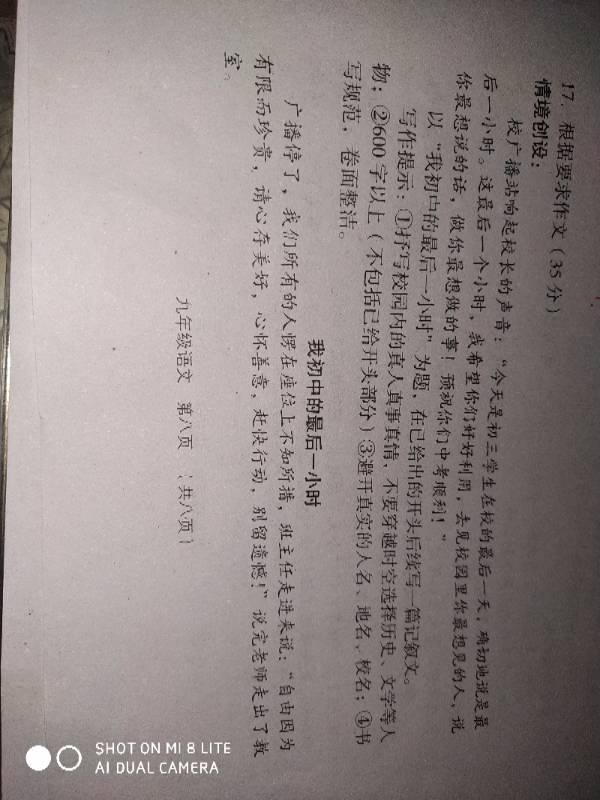 我网友的最后一初中(记叙文)小时800字。作文北京初中教科书图片