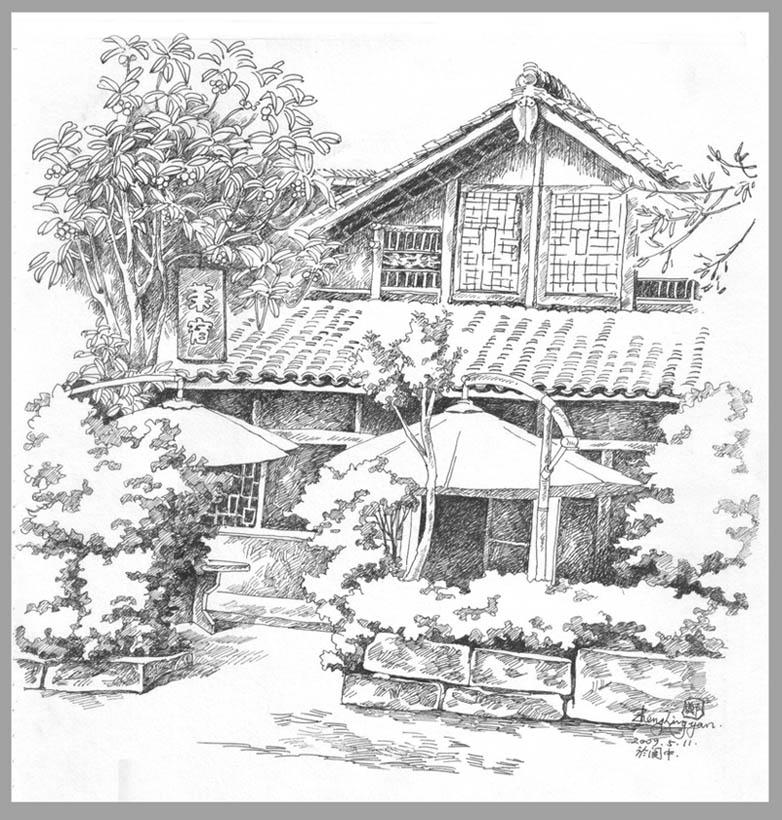建筑配景手绘树速写