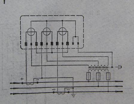 两个单相功率表测量三相三线制供电线路有功功率的接线图