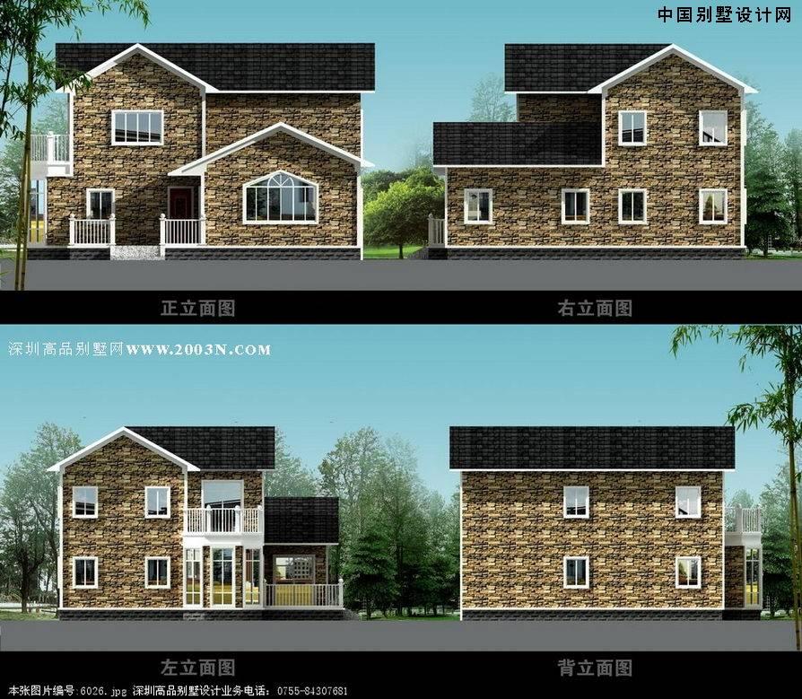 求占地面积80至100平米两层半农村小别墅,总造价在10至12万元效果设计图片