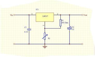 用lm317把输入5v的电源转成输出3v的电源怎么搭电路