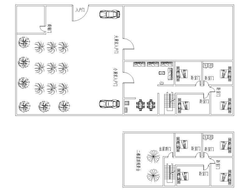 求自建房设计图,宽7米长12米,坐西向东两层每层三房一