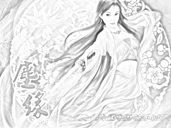 求一张古装美女手绘图片 我用光影魔术手把它弄成素描了,原图被覆盖