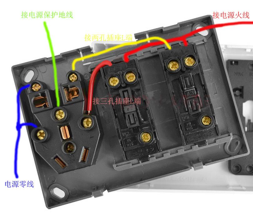 电源插座面板两个开关分别控制两孔与三孔电源插座,那按照图连接即可.