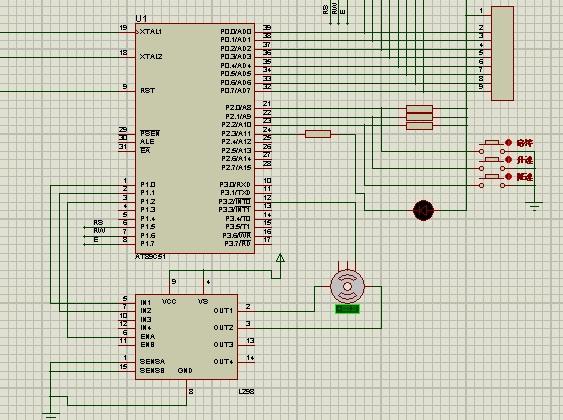 单片机通过pwm控制直流电机l298n的原理图