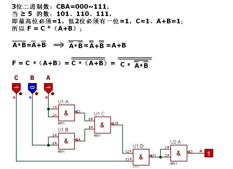 用与非门设计一个组合逻辑电路,其输入是3位二进制数.