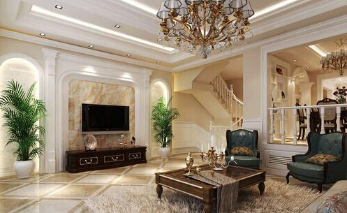 18平米复式楼客厅简约楼梯背景墙一体装修效果图