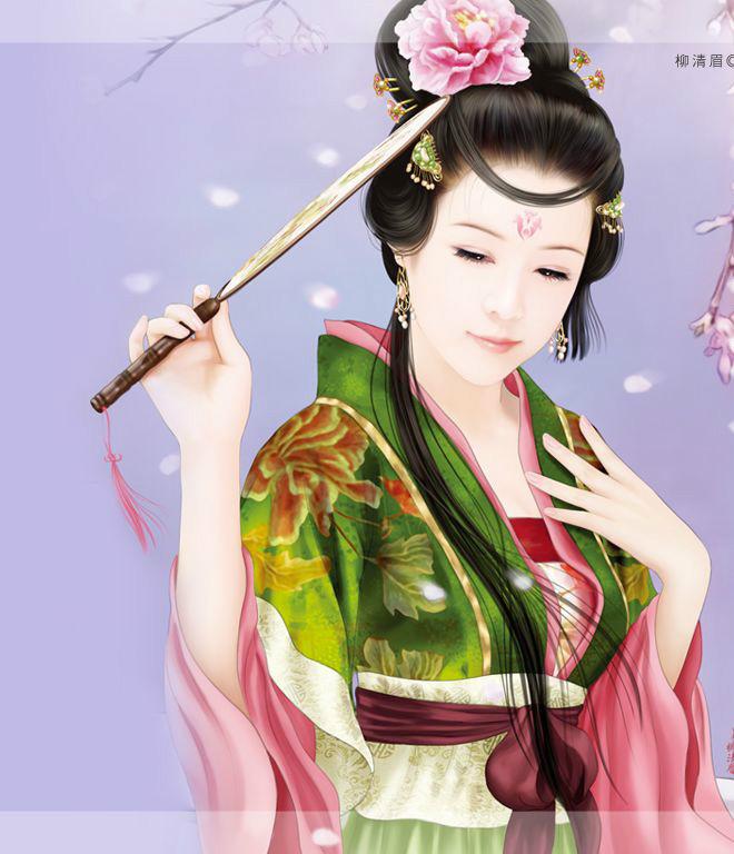 求唐代古装手绘美女图,半身图,感谢.