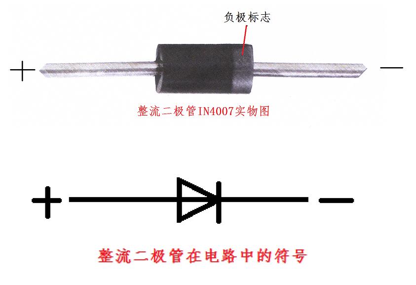 in4007二极管在电路中的符号和实际中的符号分别是什么?