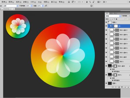 在ps做好渐变背景,然后用钢笔工具制作一个花瓣的形状,再复制旋转图片