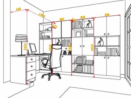 求室内设计书房或厨房的手绘效果图