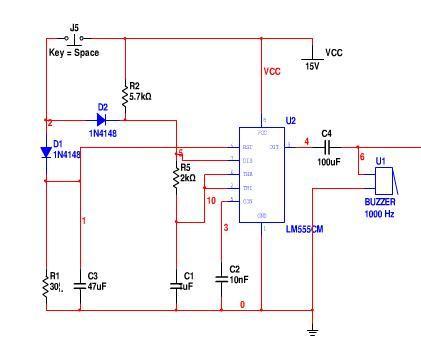 """简易""""叮咚""""门铃电路设计要求:采用555定时器组成多谐振荡器产生脉冲信"""