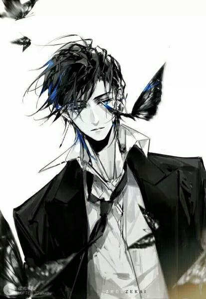 动漫男生帅气冷酷霸气黑白背景头像么图片