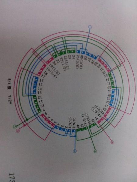 三相异步电动机48槽6/4极内部接线图