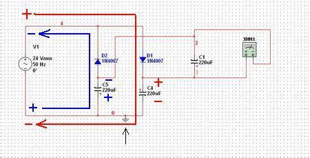 """""""半波整流双电源""""电路,这是单交流变双直流的方法: 看图中的接地符号"""